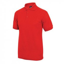 Polo 65% polyester & 35% coton rouge L EQUIPEMENT DIRECT Nisbets Vêtements