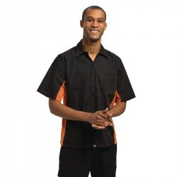 Chemise bicolore Chef Works noire et orange - Taille XL COLOUR BY CHEF WORKS Nisbets Vêtements
