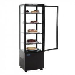 Vitrine réfrigérée noire avec portes incurvées - 235 Litres