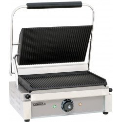Grand grill panini rainuré - L 410 x P 370 x H 200 mm - inox