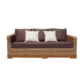 Canapé 3 places bio en fibres tressées et bois - tissu bio - Authentic