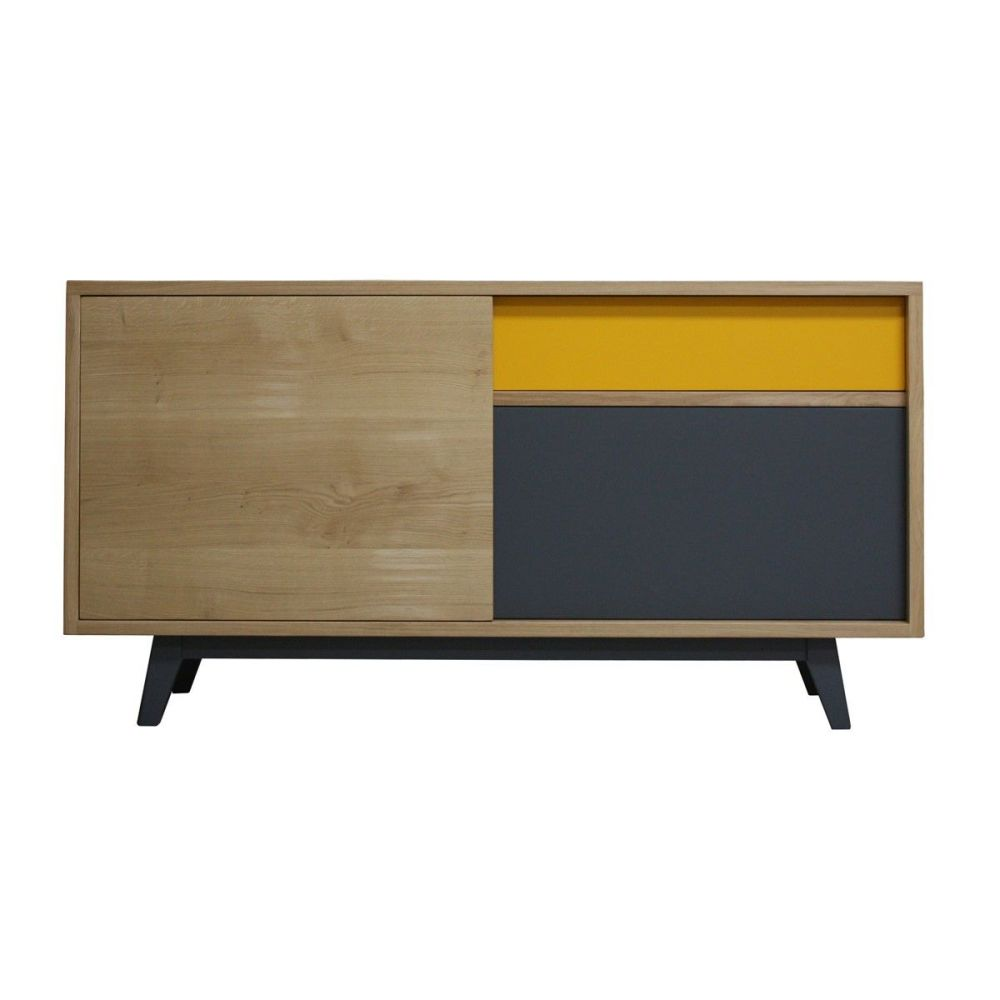 buffet vintage ch ne massif blanchi et laqu jaune curcuma et ardoi. Black Bedroom Furniture Sets. Home Design Ideas
