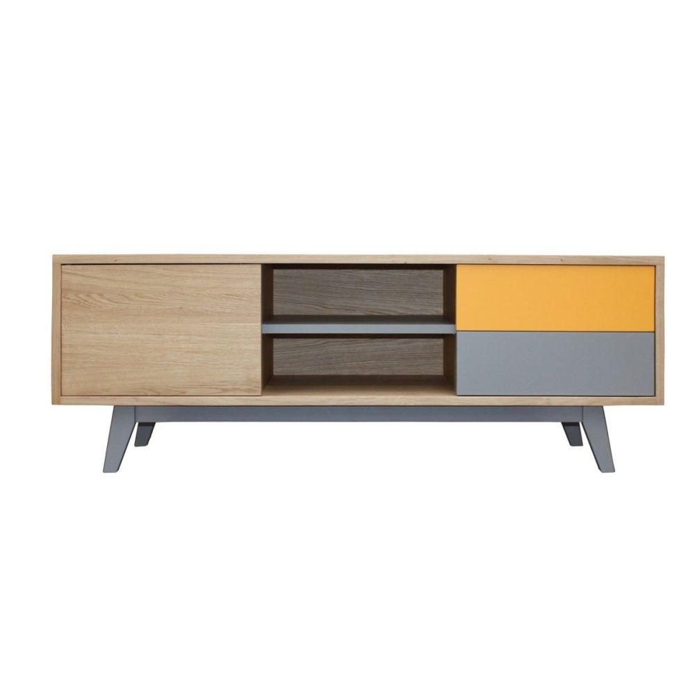 buffet tv vintage ch ne massif blanchi et laqu pirotais. Black Bedroom Furniture Sets. Home Design Ideas