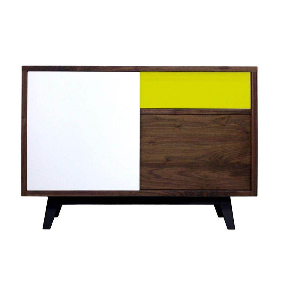 buffet vintage noyer massif et laqu jaune et blanc pirotais. Black Bedroom Furniture Sets. Home Design Ideas