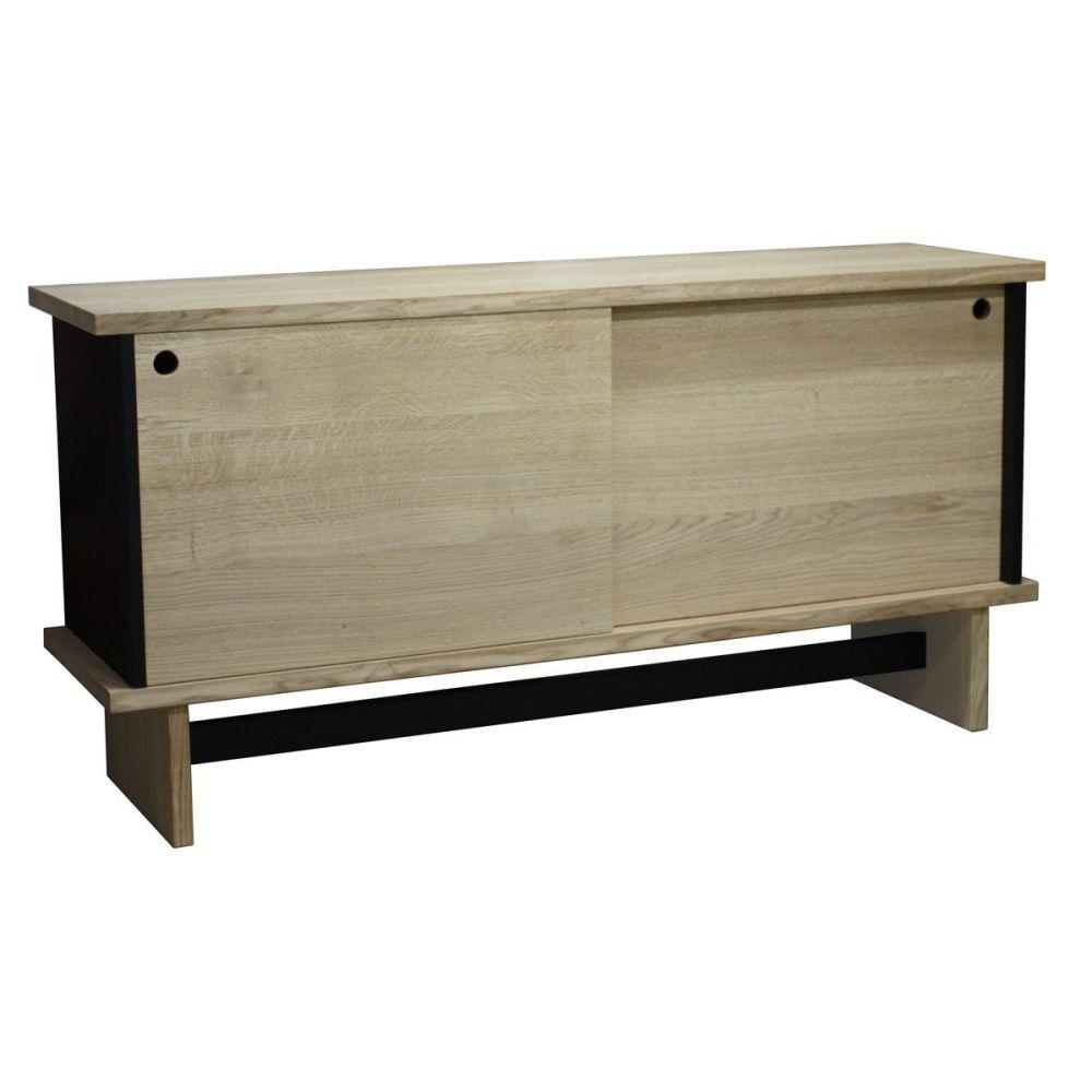 buffet vintage ch ne massif blanchi et laqu noir pirotais. Black Bedroom Furniture Sets. Home Design Ideas