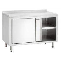 Meuble neutre à portes coulissantes P 700 x H 850 mm avec dosseret - inox Bartscher Tables sur placard
