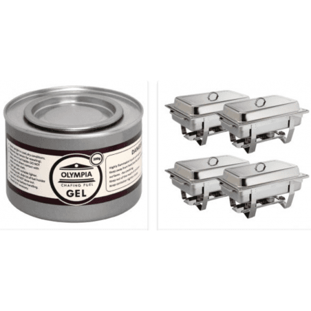 Pack de 4 chafing-dish + 12 pots de combustible OLYMPIA Chafing Dish
