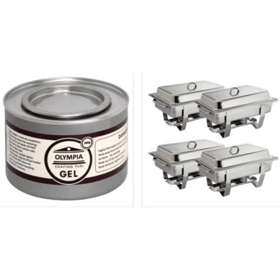Pack de 4 chafing-dish + 12 pots de combustible