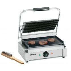 Grill panini lisse / rainuré - L 410 x P 400 x H 200 mm - 2200 W - inox
