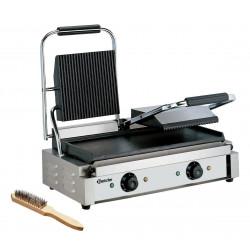 Grill panini double lisse / rainuré - L 570 x P 370 x H 200 mm - 3600 W - inox