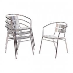 Lot de 4 Chaises aluminium Bolero