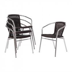Lot de 4 Chaises aluminium bolero, rotin noir