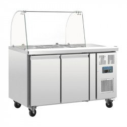 Comptoir de préparation 282 litres réfrigéré, 2 portes, 2 x GN 1/1 + pare-haleine  POLAR Saladettes