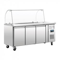 Comptoir de préparation 417 litres réfrigéré, 3 portes, 3 x GN 1/1 + pare-haleine  POLAR Saladettes