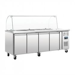 Comptoir de préparation 553 litres réfrigéré, 4 portes, 4 x GN 1/1 + pare-haleine  POLAR Saladettes