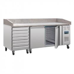 Comptoir à pizza réfrigéré 428 litres, 2 portes, 7 tiroirs à pâtons + plan de travail en marbre  POLAR Comptoirs de préparation