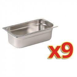 Lot de 9 bacs GN 1/3 (P) 100 mm, inox, Vogue VOGUE Bacs inox