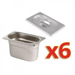Lot de 6 bacs + couvercles GN 1/9 (P) 100 mm inox - Vogue VOGUE Bacs inox