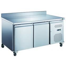 Table 282L réfrigérée 2 portes + dosseret inox