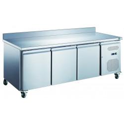 Table 417L réfrigérée 3 portes + dosseret inox