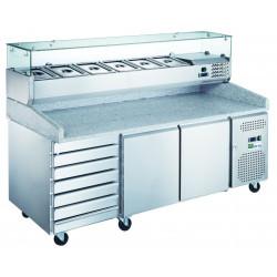 Meuble 580L pizza 2 portes + 7 tiroirs