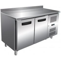 Table 314L réfrigérée 2 portes + dosseret inox