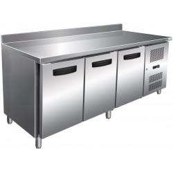 Table 465L réfrigérée 3 portes + dosseret inox