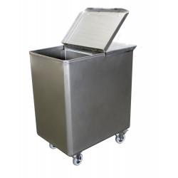 Bac à sel / farine 130 L avec couvercle - inox L2G Cuves roulantes