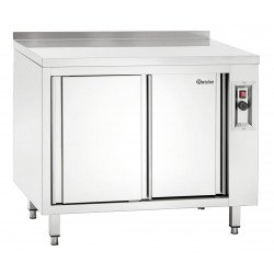 Armoire chauffante H 850 x P 700 mm avec dosseret - inox Bartscher Tables sur placard