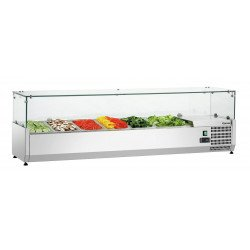 Présentoir réfrigéré 5 x GN 1/3+ 1 x GN 1/2 - L 1490 x P 390 x H 195 mm  Bartscher Vitrines à ingrédients