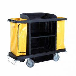 Chariot de service de chambres - L 1536 x P 554 x H 1252 mm - sans porte - noir - Polyéthylène