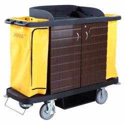 Chariot de service de chambres - L 1536 x P 554 x H 1252 mm - 2 portes - noir - Polyéthylène