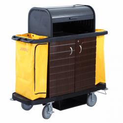 Chariot de service de chambres - L 1536 x P 554 x H 1510 mm - 2 portes + coupole - noir - Polyéthylène
