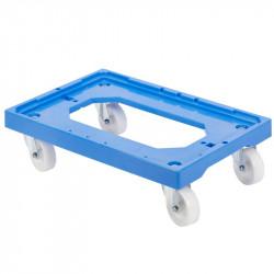Socle rouleur 4 roues pivotantes - chape acier - bleu Gilac Manutention et stockage