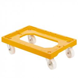 Socle rouleur 4 roues pivotantes - chape acier - jaune Gilac Manutention et stockage