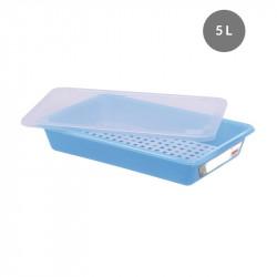 Lot complet bac plat 5 Litres + couvercle + grille - HACCP - bleu Gilac Bacs de distribution