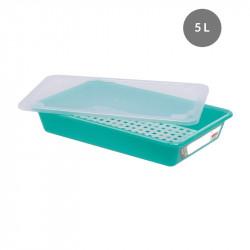 Lot complet bac plat 5 Litres + couvercle + grille - HACCP - vert Gilac Bacs de distribution