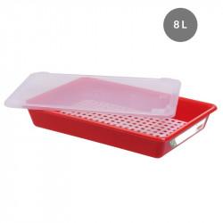 Lot complet bac plat 8 Litres + couvercle + grille - HACCP - rouge Gilac Bacs de distribution