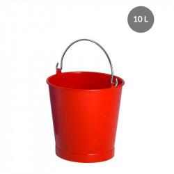 Seau rond 10 Litres avec anse inox - rouge Gilac Cuvettes et sceaux