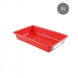Bac plat 3 Litres - rouge - HACCP