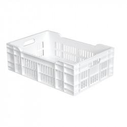 Caisse ajourée L 400 x P 600 mm - 40 Litres - fond plein - blanc Gilac Caisses de transports