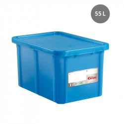 Bac 55 Litres rectangulaire + couvercle - HACCP - bleu Gilac Bacs de stockage renforcés