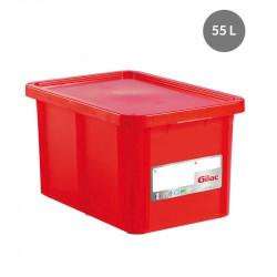 Bac 55 Litres rectangulaire + couvercle - HACCP - rouge Gilac Bacs de stockage renforcés