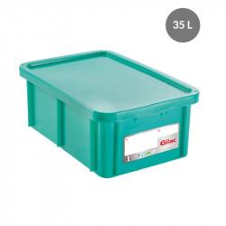 Bac 35 Litres rectangulaire + couvercle - HACCP - vert Gilac Bacs de stockage renforcés