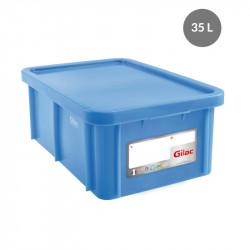 Bac 35 Litres rectangulaire + couvercle - HACCP - bleu Gilac Bacs de stockage renforcés