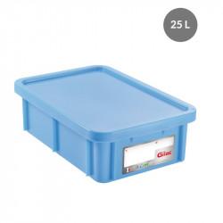 Bac 25 Litres rectangulaire + couvercle - HACCP - bleu Gilac Bacs de stockage renforcés