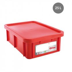 Bac 25 Litres rectangulaire + couvercle - HACCP - rouge Gilac Bacs de stockage renforcés