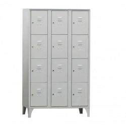 Armoire/Vestiaires 3 colonnes - 12 cases - acier  L2G Casiers / Vestiaires