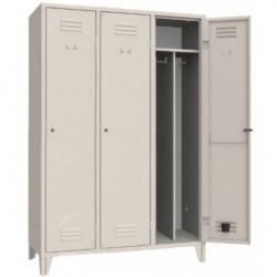 Armoire/vestiaires 3 colonnes, 3 casiers, pour industrie salissante, acier EQUIPEMENT DIRECT Casiers / Vestiaires