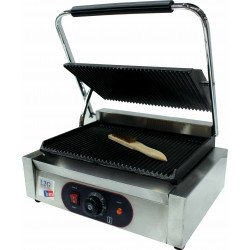 Grill panini simple rainurée - surface : L 340 x P 230 mm - inox